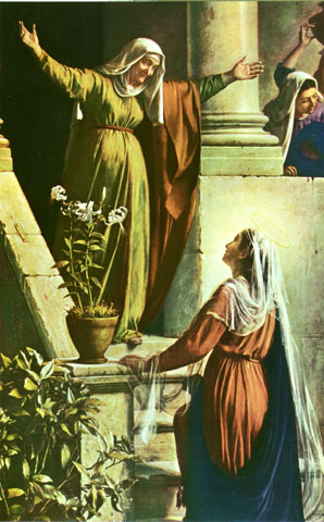 Mama Mary visits St Elizabeth, who rejoices at the honour of the visit from the mother of the Lord (graphic from wellsprings.com.au)